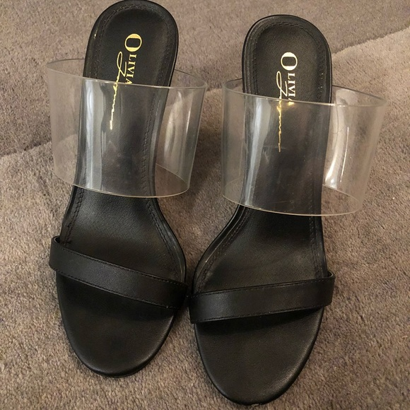 f27ee1fc802 Olivia Ferguson Clear and black wedges